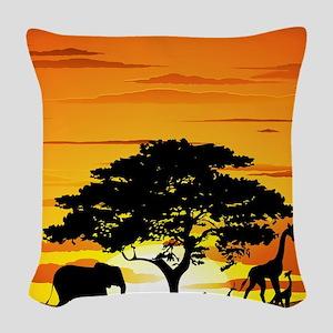 Wild Animals on African Savann Woven Throw Pillow