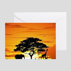 Wild Animals on African Savannah Sun Greeting Card