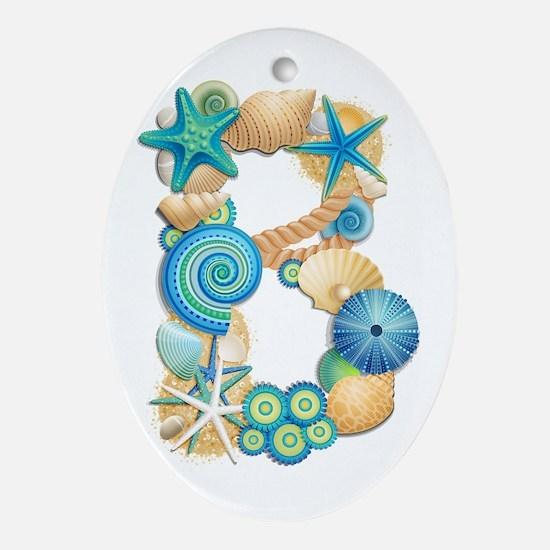BEACH THEME INITIAL B Oval Ornament