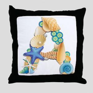 BEACH THEME INITIAL A Throw Pillow