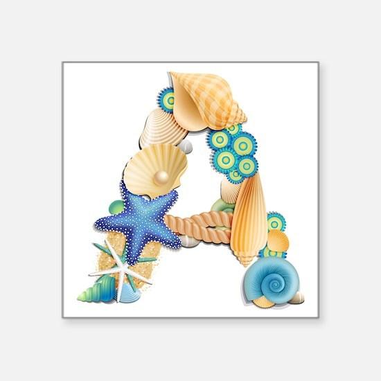 "BEACH THEME INITIAL A Square Sticker 3"" x 3"""