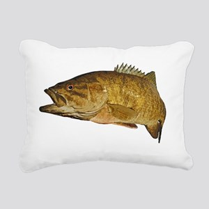 Smallmouth Bass Art Affe Rectangular Canvas Pillow