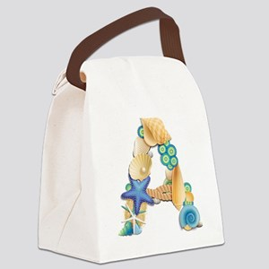 BEACH THEME INITIAL A Canvas Lunch Bag