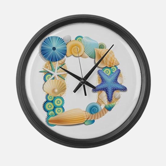 BEACH THEME INITIAL D Large Wall Clock