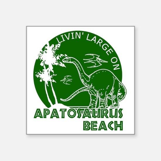 "Dinosaur Apatosaurus Beach Square Sticker 3"" x 3"""