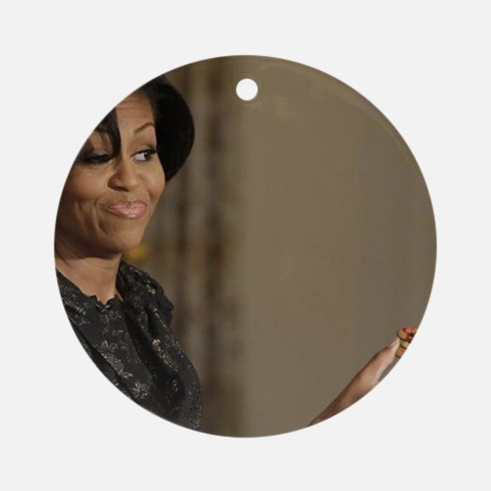Michelle Obama Cookie Jar Round Ornament