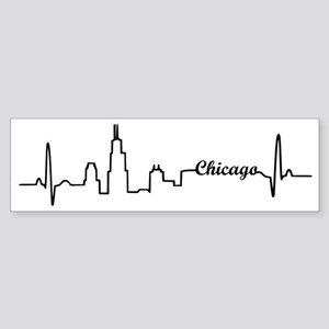 Chicago Heartbeat Letters Sticker (Bumper)