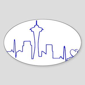 Seattle Heartbeat (Heart) BLUE Sticker (Oval)