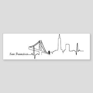 San Francisco Heartbeat Letters Sticker (Bumper)