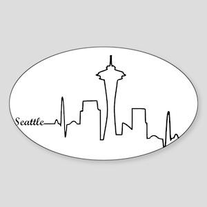 Seattle Heartbeat Letters Sticker (Oval)