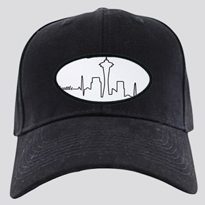 Seattle Heartbeat Letters Black Cap