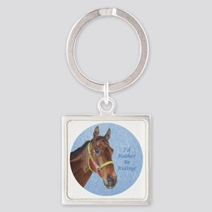 Pretty Thoroughbred Horse Square Keychain