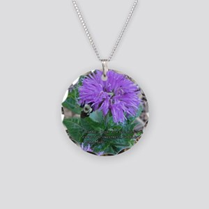 As a Bee Handles a Flower Necklace Circle Charm
