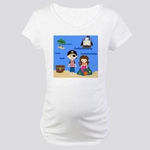 Pirate Boy  Mermaid Girl Maternity T-Shirt