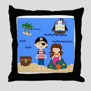 Pirate Boy  Mermaid Girl Throw Pillow