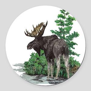 Bull moose art Round Car Magnet