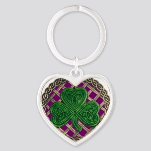 Shamrock And Celtic Knots Heart Keychain