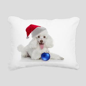 Santa Poodle Rectangular Canvas Pillow
