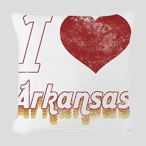 I Love Arkansas (Vintage) Woven Throw Pillow