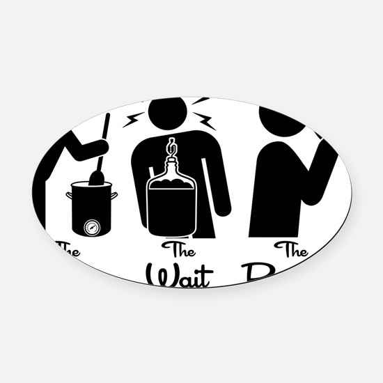 The Steps of Homebrewing Oval Car Magnet