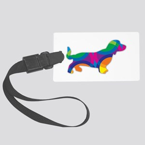 A Doxie Going in Circles Large Luggage Tag