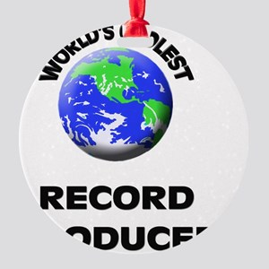 World's Coolest Record Producer Round Ornament