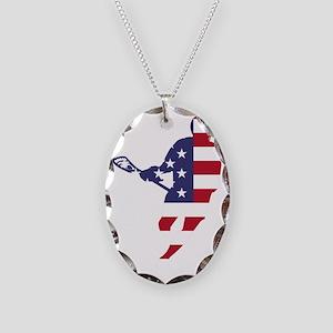 Lacrosse IRockMericaHorz Necklace Oval Charm