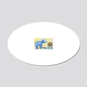 Elephant squirting water wit 20x12 Oval Wall Decal