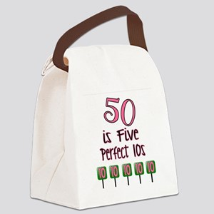 50 is Five Perfect TENS Canvas Lunch Bag