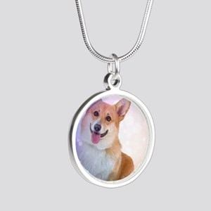 Smiling Corgi with Blue Wave Silver Round Necklace