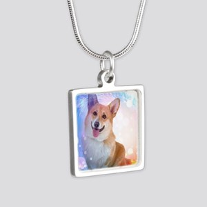 Smiling Corgi with Blue Wa Silver Square Necklace