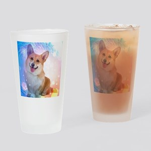 Smiling Corgi with Blue Wave Drinking Glass