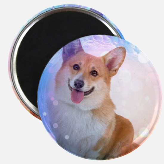 Smiling Corgi with Blue Wave Magnet