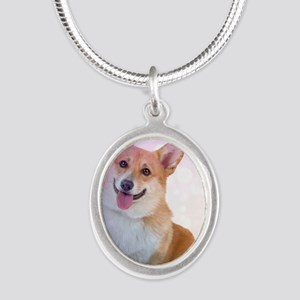 Smiling Corgi with Blue Wave Silver Oval Necklace
