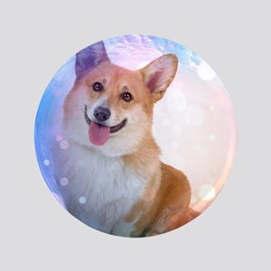 "Smiling Corgi with Blue Wave 3.5"" Button"