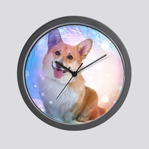 Smiling Corgi with Blue Wave Wall Clock