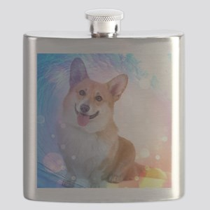 Smiling Corgi with Blue Wave Flask