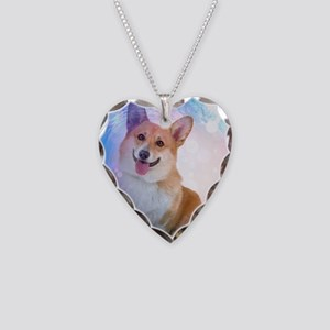 Smiling Corgi with Blue Wave Necklace Heart Charm
