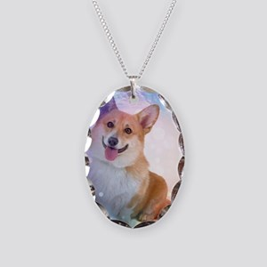 Smiling Corgi with Blue Wave Necklace Oval Charm