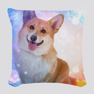 Smiling Corgi with Blue Wave Woven Throw Pillow