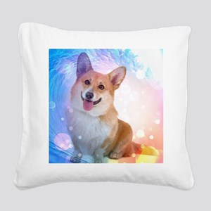 Smiling Corgi with Blue Wave Square Canvas Pillow