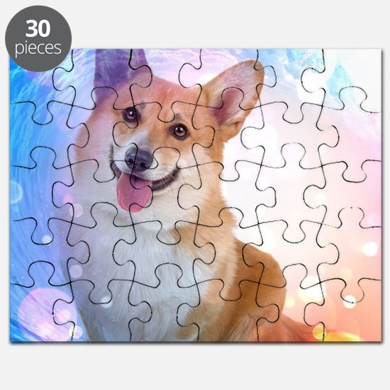Smiling Corgi with Blue Wave Puzzle