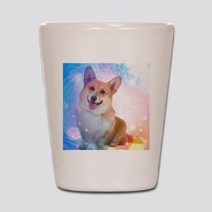 Smiling Corgi with Blue Wave Shot Glass