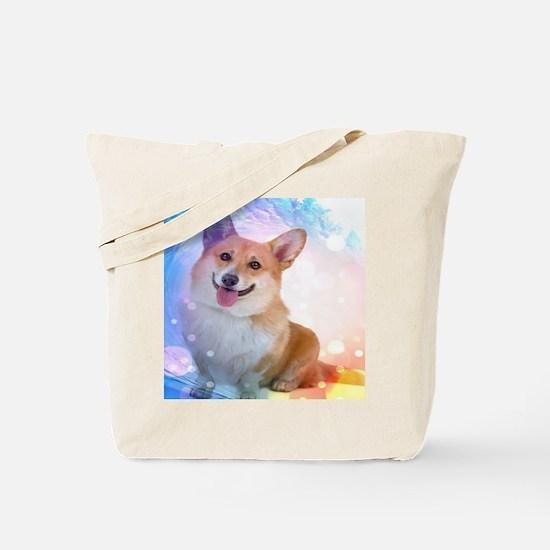 Smiling Corgi with Wave Tote Bag