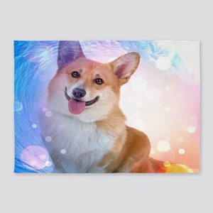 Smiling Corgi with Wave 5'x7'Area Rug