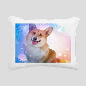Smiling Corgi with Wave Rectangular Canvas Pillow