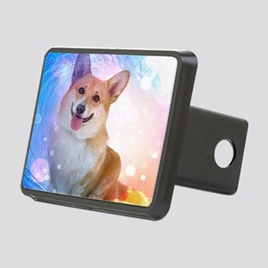 Smiling Corgi with Wave Rectangular Hitch Cover