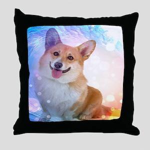 Smiling Corgi with Wave Throw Pillow