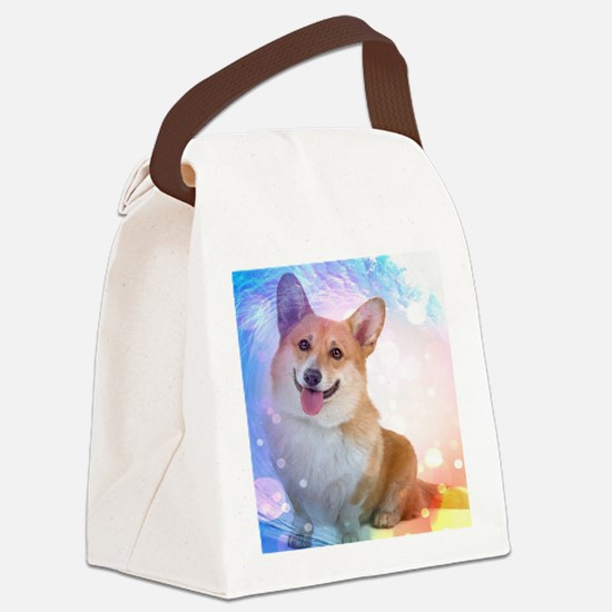 Smiling Corgi with Wave Canvas Lunch Bag