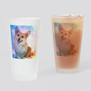 Smiling Corgi with Wave Drinking Glass
